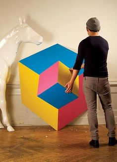 illusion | Flickr - Photo Sharing! #optical #horse #illusion #pink #yellow #graphic #snask #blue