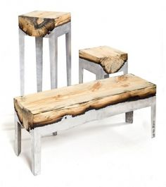 Wood Stools Cast in Aluminum | WANKEN - The Art & Design blog of Shelby White #wood #furniture #aluminum #stool