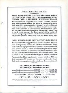 Intertype Bodoni type specimen #type #specimen #typography