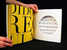 Dever Elizabeth #specimen #yellow #book #diecut #didot #type #layout #typography
