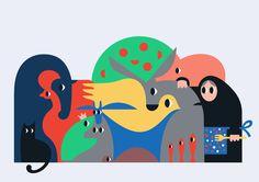 animals, illustration, bold, color, cat