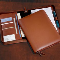 Circa Zip Folio Leather Portfolio, Leather Organizer, Notebook Levenger