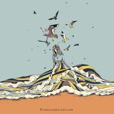 HUEBUCKET #ocean #clothing #girl #wave #bird #walking #dress