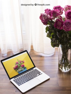 Laptop mockup with flowers Free Psd. See more inspiration related to Mockup, Flowers, Technology, Computer, Woman, Girl, Home, Laptop, Notebook, Mock up, Modern, Decorative, Lady, Wooden, Keyboard, Display, Romantic, Screen, Female, Festive, Beautiful, Up, Computer screen, Mock and Femininity on Freepik.