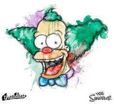 Krusty #simpsons #threadless #illustration #krusty #watercolor