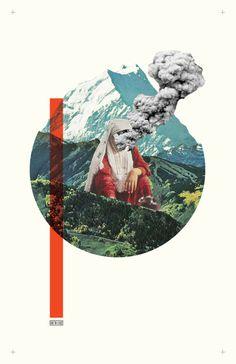 Collage poster smoke minimalism design