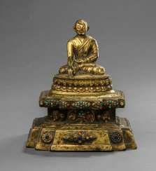 Fine fire-gilt Bronze of a Lama on a throne
