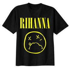 Image of RiRi :( T shirt #yellow #nirvana #black #shirt #illustration #rihanna