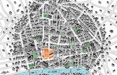 Map of Le Marais area Paris #paris #france #design #map #illustration #art