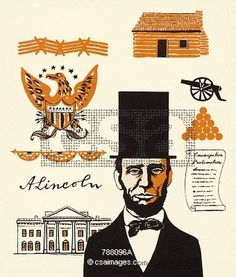 Lincoln Illustrations | Hand Drawn Stock Illustrations, Unique Stock Illustrations | Csa Images #lincoln #images #illustrationscsa #illustrations #illustrationshand #unique #drawn #stock