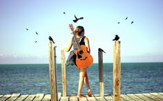Beach Girl with Guitar
