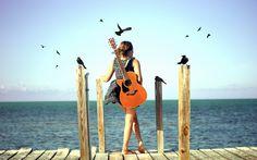 Beach Girl with Guitar