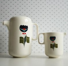 Portuguese coffee and milk set. #milk #ceramic #folk #coffee