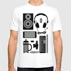 Objects T-shirt at Søciety6 #leica #vinylrecord #camera #speaker #headphones #op1 #frenchpress #applewatch #pencil #brush #rickardarvius