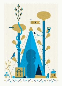 http://miscadventures.tumblr.com/ #groves #color #graphic #camping #two #illustration #andrew