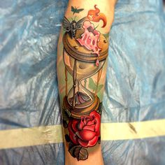 gregsrandomcrap: #moth #rose #tattoo #hourglass