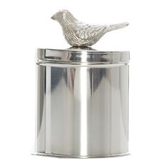 Camelot Silver Canisterw Bird on Lid, 18 cm