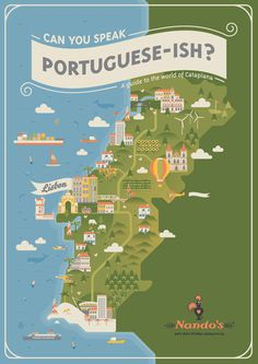 Nandos Can you speak Portuguese-ish #map #portuguese #illustration #nandos