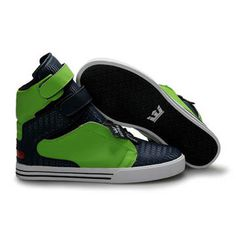 Supra TK Society Green and Deep Blue Men High Top Shoes #shoes