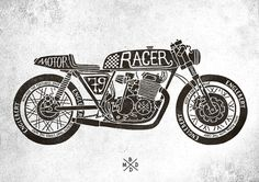 http://www.bmddesign.fr/cafe_racer_motrocycles/cafe_racer_motorcycles1.jpg #lettering #illustration #type #skull #hand