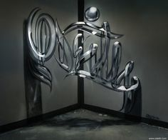 Odeith Anamorphic graffiti letters Glossy glass effect