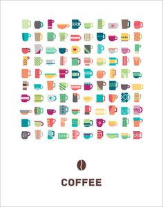 Coffee Poster by Kellie Voegler #flat #icons #illustration #coffee #colour