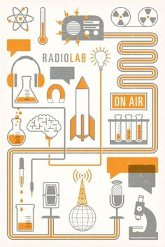 thequietsociety.com/blog | The Creative Work of Brian Hurst #radio #orange #illustration #poster #gray #radiolab #npr #science