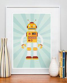 Retro Robot Poster Nursery art print Children\'s Decor by handz