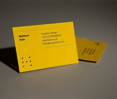 Matthew Hole #die #cut #lines #business #branding #card #stationery #yellow #brand #identity #rules #personal #holes #typography