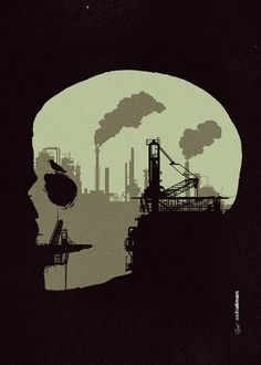 Life sucks Tumblr Facebook #darkness #illustration #industry #silhouette #skull #death #pollution