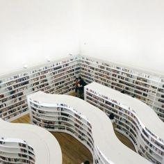 Library, curves, books, shelves, shelf, book, bookshelves, bookshelf, white, minimalistic, minimal
