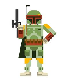 Something I drew up last night, just for fun: Boba Fett, the Mandalorian bounty hunter from Star Wars. One of my favorite characters from th