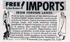 FREE IMPORTS FROM FOREIGN LANDS #print #design #graphic #clip #illustration #art #novelties