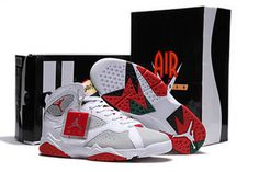 Retro 7 Hare Shoes Nike Jordan Basketball Sport Shoes - Red/White/Grey