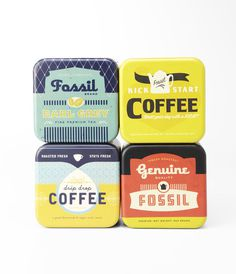 Fossil Coffee #packaging #coffee #tin #fossil