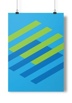 Poster Project #print #shapes #float #grid #levitate #poster #blue #green
