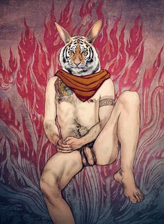 illustration of a Rabbit + Tiger creature #tiger #riger #figure drawing #fire #erotic #drawing #spirit animals #gay #male body #man #creatur