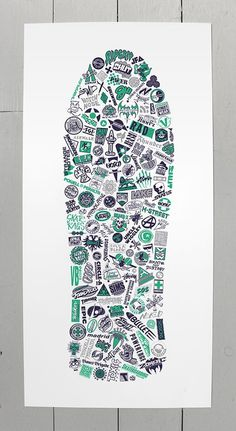 Collection of vintage (1980's) skateboard logos, redrawn and arranged within the shape of a classic 80's skate deck. Green 801 screen print