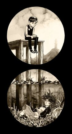MONAUX ~ Illustration & Hand-made Typography » Personal Work I #monaux #girl #boy #pier #lighthouse #oce #drown #sad