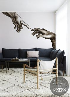 Creation of Adam #interior #mural #design #decor #home #wall #architecture #art
