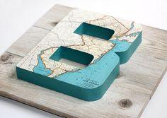 vintage map diy idea #serif #sans #map #letter #3d
