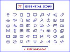 77 Essential Icons in a minimal, outline style. A cohesive set of pixel-perfect, consistent and hand crafted icons. Now available for FREE download to