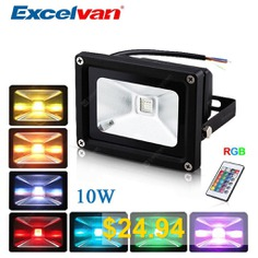 Excelvan®10W #Remote #Control #RGB #LED #Flood #Lights,16 #Colours #Changing #& #4 #Modes,IP65 #Waterproof, # #Security #Light #& #Wall #Washer #Light #Used #For #Villa,Stage,Ancient #Buildings,Culture #Square,etc.[Energy #Cl