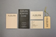 Auburn Identity | Catalogue #branding #hang #tag #minimal #booklet #typography