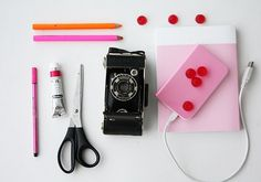 Untitled | Flickr - Photo Sharing! #fluo #old #isabelle #stabilo #camera #kodak #scissors #laydier #pencils #sweets