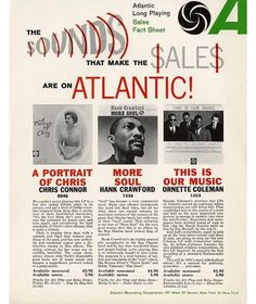 1961 Atlantic Long Playing Sales Fact Sheet - Photos - Atlantic Records #typography #music #soul #franklin gothic #atlantic records