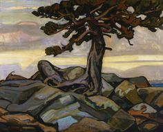 Pine Tree and Rocks by Arthur Lismer #Lismer #tree #pine #landscape #canada