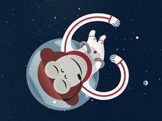 modern thrifter #lettering #astronaut #space #monkey #illustration