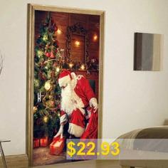 Christmas #Tree #Santa #Pattern #Door #Art #Stickers #- #COLORMIX