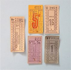 Vintage Paper Bus Tickets from the UK Transportation Ephemera for Scrapbooking Crafts Art Mixed Media Collage Collectible Supplies #tickets